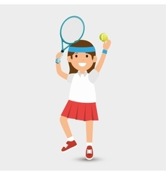 cute girl plays tennis design vector image