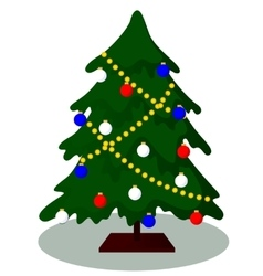 Decorated christmas tree vector
