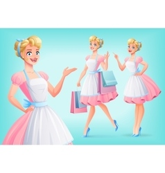 Cute smiling housewife in apron in different poses vector image