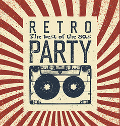 Retro party advertising flyer with old vector