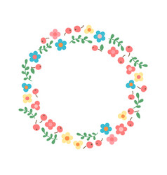 decorative floral wreath frame from flowers vector image