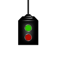 Electronic control with red and green button vector