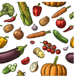 Seamless pattern vegetables cucumbers garlic vector