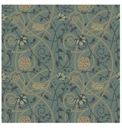 Medieval flowers pattern dark vector