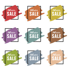 Winter sale icon styled set vector