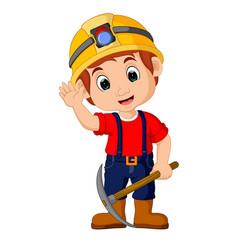 Miners boy cartoon vector