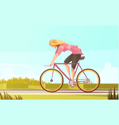 Bicycle rider woman composition vector