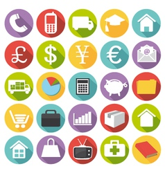 Business finance health and shopping icons vector