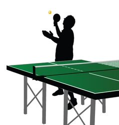 Ping pong player silhouette seven vector