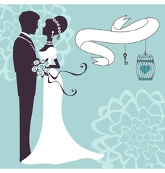 Elegant wedding couple in silhouette vector