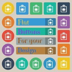 Shopping bag icon sign set of twenty colored flat vector