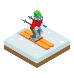 Ski resort holidays skier isometric 3d icon symbol vector