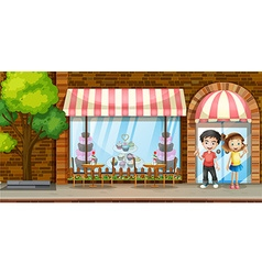 People hanging out at the bakery shop vector image