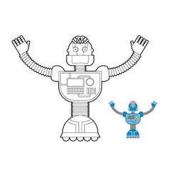 Space robot coloring book cybernetic mechanism vector