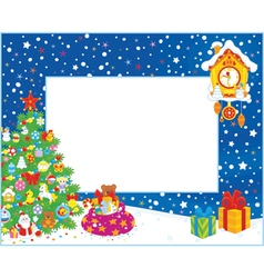 Border with christmas tree and gifts vector