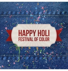 Holi festival of color paper card with ribbon vector