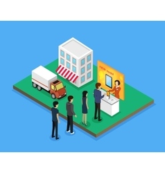 Sale and delivery new model device isometric style vector