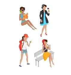 Set summer womens characters vector