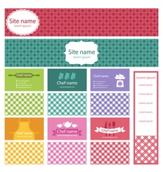 Set of business cards and header website for vector