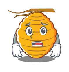 Afraid bee hive character cartoon vector