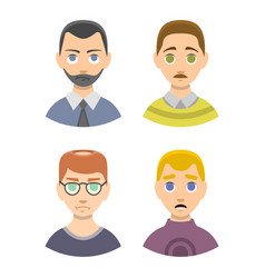 Caucasian depressed male head stressed character vector