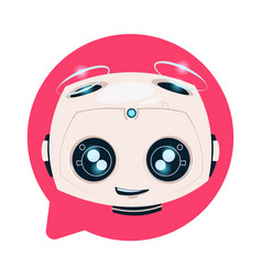 Chatbot cute robot in chat bubble icon isolated vector