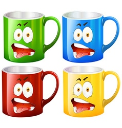 Coffee mugs with facial expressions vector