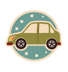 Color circular emblem with small automobile vector
