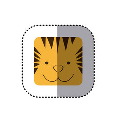 Colorful face sticker of tiger face in square vector