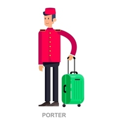 cute and happy cartoon indoor hotel porter vector image