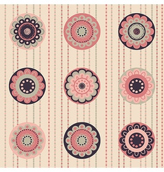 Geometrical pattern with flowers dust-rose color vector image