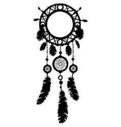 hand drawn dreamcatcher silhouette with feathers vector image