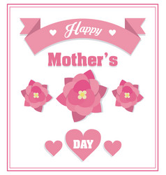 Happy mothers day card decorative pink flowers vector