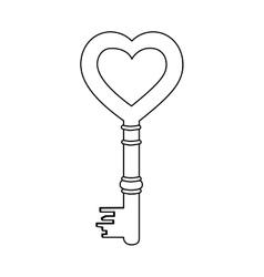 Heart shape vintage key icon image vector