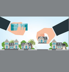 human hand holding right house and money vector image vector image