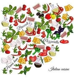 Italian cuisine top view frame food menu design vector