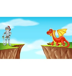 Knight and dragon on the cliff vector