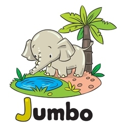 Little funny elephant or jumbo Alphabet J vector image vector image