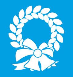 Merry christmas wreath icon white vector