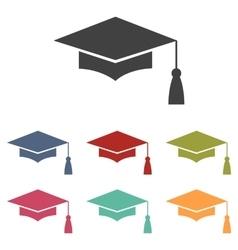 Mortar board or graduation cap vector