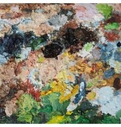 Oil paints on a palette vector