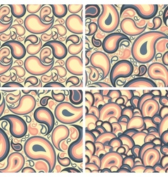 Set of paisley seamless patterns vector image