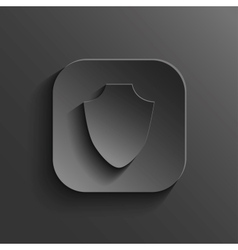 Shield icon - black app button vector