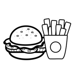 Silhouette hamburger and fries french food icon vector