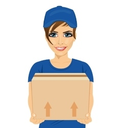 Delivery service young woman holding cardboard box vector