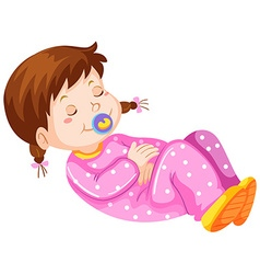Girl toddler with pacifier napping vector