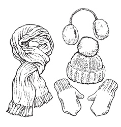 Set of knotted scarf hat ear muffs and mittens vector