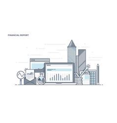 flat line design header - financial report vector image