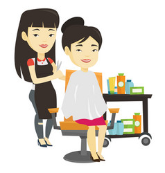 Hairdresser making haircut to young woman vector