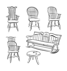 Set of assorted chairs vector